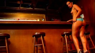 Filthy bartender girl Victoria Allure fucks seduces her black customer