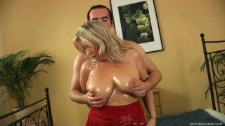 Busty whorish fatso Gitte provides Ryan with a perfect titfuck