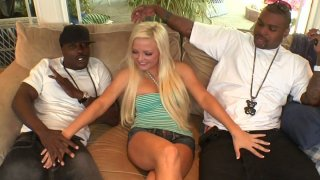 Cute hot blondie Jenna Lovely gives a solid deepthroat to black cocks