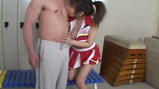Young Japanese gal Ai Yumemi's hairy pussy gets fingered in locker room
