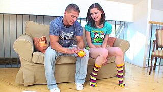 Playful girl seduced by her stepbrother