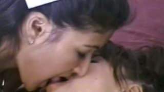 Horny Indian babes make out with each other and bang one guy
