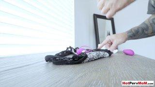 Tricky stepson remote controlling MILF stepmoms dildo