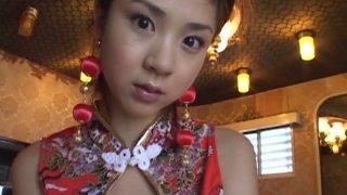 Slutty oriental hoe Aki Hoshino puts on traditional Asian dress