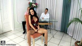 Porn threesome. Busty Aletta Ocean takes two cocks