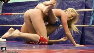 Pretty girls are having lesbian wrestling