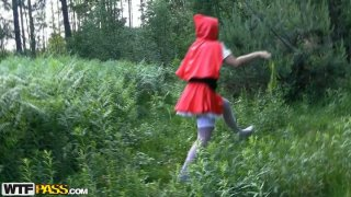 Horn-mad Red Riding Hood has a kinky idea to have sex in the woods