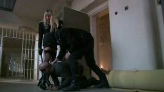 Bodacious blonde mistress Natalli Di Angelo works on two fat pricks