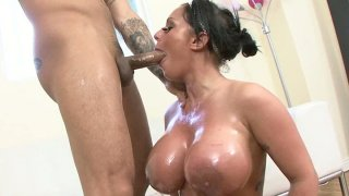 Buxom chick Kerry Louise pleases hot and stiff cock with a tremendous sucking