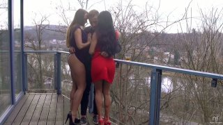 One lucky guy fucks two bodacious lesbians kissing each other