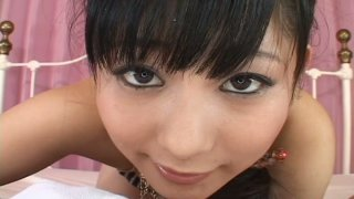Chubby face jap girl Rin Mizusaki is giving a head in a POV