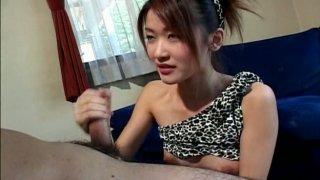Frisky Japanese chick Mai Asakura blows a micro dick