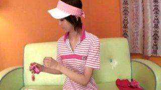Young brunette whore Miria Hazuki masturbating with a small vibrator