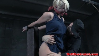 Shorthaired submissive emo slave tickled by dom