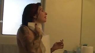 Punk cheerleader Joanna teasing for a camera