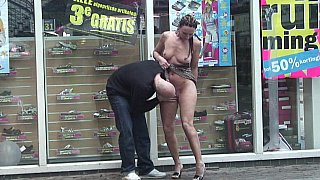 MILF getting a money shot on the street