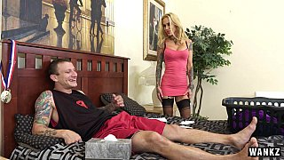 Tattooed milf Sarah Jessie finds her step-son jerking off