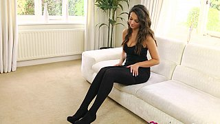 Brunette in tights slowly stripping