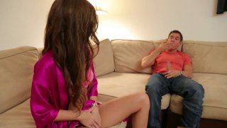 Maddy OReilly likes his size and gives steamy  blowjob