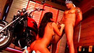 Brutal biker bangs horny brunette Ice La Fox from behind
