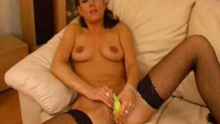 Maria playing with her pussy and banana