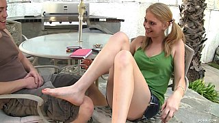 Nubile 18 year old Allie James offers up her shaved pussy