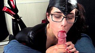 Kinky catsuit BJ