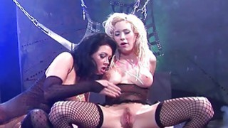 Two hot and nasty pornstars fucking in a bdsm sett