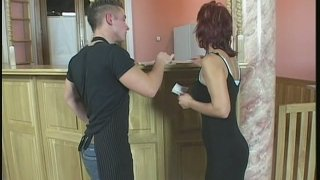 Redhead aunty named Cindy sucks worker's dick deepthroat