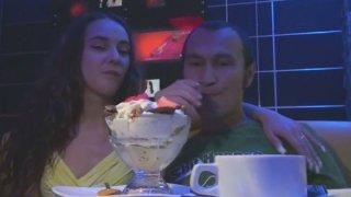Tipsy cum addicted slut sucks a tasty lollicock right in the club