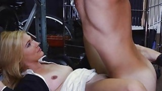 Hot blonde milf pounded at the pawnshop and gets payed
