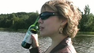 Drunk blond mature slut gonna please a cock on the boat