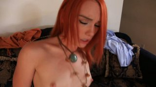 Red haired hippie Dani Jensen rides cock tenderly