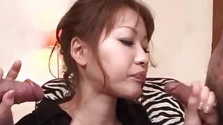 Rika Kurachi in rough bondage action along horny males