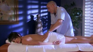 Bald masseur provides full service for hot Alektra Blue