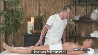 Blonde fucked and spunked on massage table