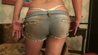 Sachenka shows off her nice jeans butt